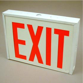 Rival Self-Powered LED Universal Face Red Letters Steel Housing Exit Sign
