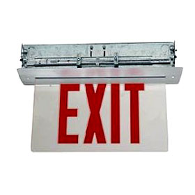 Marathon LED Edgelit Single Face 6 in. Red Letters/Mirror Ceiling Exit Sign LR