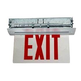 Marathon Satin Aluminum LED Edgelit Single Face 8 in. Red Letters/Mirror Ceiling Exit Sign AR