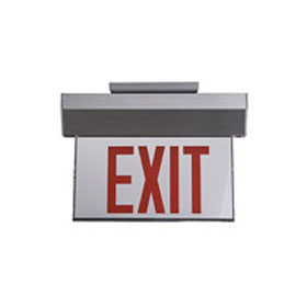 Marathon Satin Aluminum LED Edgelit Single Face 8 in. Red Letters/Clear Surface Exit Sign AR