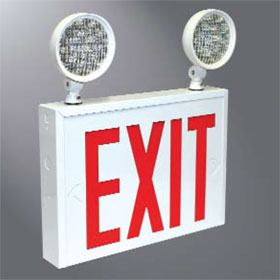 Rival 2 Head Steel Combination LED Emergency and Exit Sign, Single Face