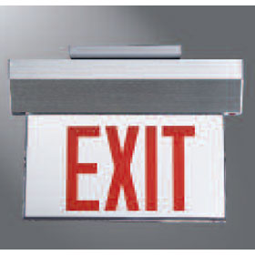Marathon Satin Aluminum LED Edgelit Single Face 8 in. Red on Clear/Arrow Left Exit Sign