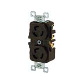 Brown NEMA L6-15 Reinforced Thermoplastic Polyester Duplex Locking Receptacle
