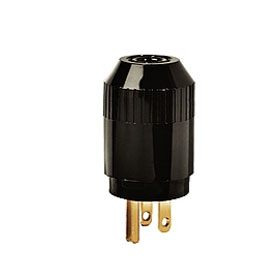 Black NEMA 5-15 Straight Blade Thermoplastic Plug