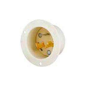 White NEMA L9-20 Nylon Male Base Flanged Cup