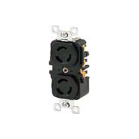 Black 10A Non-Grounding Reinforced Thermoplastic Polyester Duplex Locking Receptacle 250V