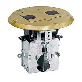 Brass Plate Decorator Duplex Receptacle Floor Box Kit