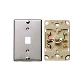 Stainless Steel 4-Conductor Wall Phone Jack Quick Connect