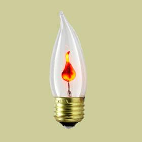 3W B10 Flame Shape Flicker Lamp, Medium Base