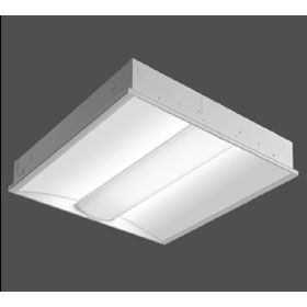 R3 Dimming 2 X 2 3500K LED Recessed Direct/Indirect Fixture, Prismatic Lens Shielding