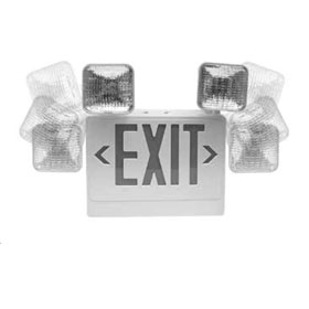 ELX400 SQ 12W Red Letters Dual Head Fully Adjustable LED Exit Sign Emergency Light Combo Unit