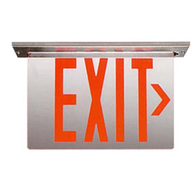 Endurance Edgelit LED Surface Pendant Single Face 8 in. Red Letters/Clear Panel Exit Sign AC