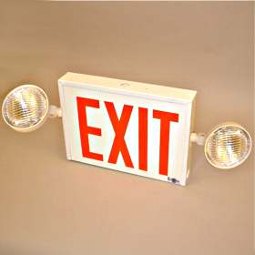 LC8 Dual Side-Mount Head LED Exit Sign Combo Unit with Remote Head