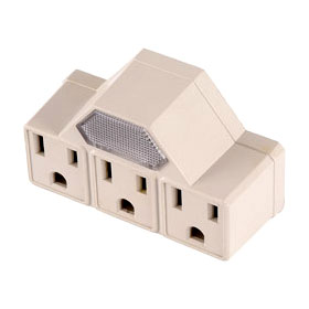 Ivory Polarized Grounded 3-Outlet Power Tap w/Nightlight