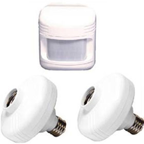 White Two Motion Activated Lamp Sockets with Motion Sensor