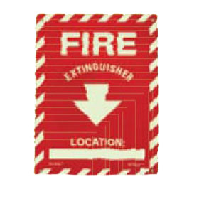 Glo Brite FS-7520-R Rigid Screen Printed Red Fire Extinguisher Arrow Down PL Letters Red Background