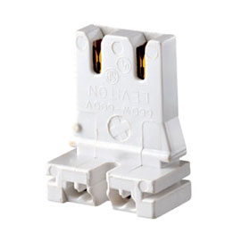 White Medium Base Bi-Pin Standard Fluorescent Lampholder