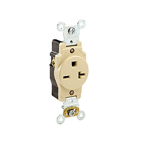 5461 Ivory 20A 6-20R Single Receptacle