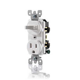 Ivory 15A Commercial Grade Tamper Resistant Combination Switch Receptacle