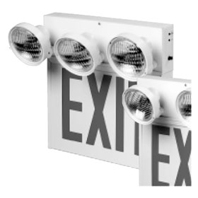 SC 3-Head Emergency Light LED Red Letters Exit Sign Combo Unit