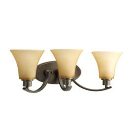 Joy Antique Bronze 3-Lamp Fluted Glass Shades Bath Light Fixture