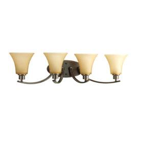 Joy Antique Bronze 4-Lamp Fluted Glass Shades Bath Light Fixture