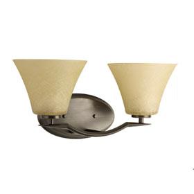 Bravo Antique Bronze 2-Lamp Fluted Glass Shades Bath Light Fixture