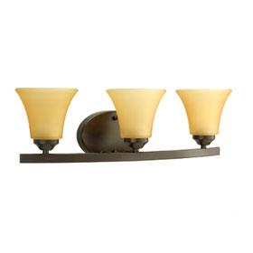 Adorn Antique Bronze 3-Lamp Fluted Glass Shades Bath Light Fixture