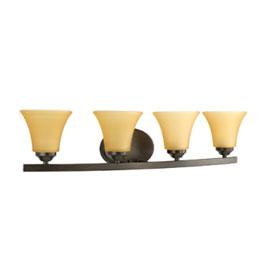 Adorn Antique Bronze 4-Lamp Fluted Glass Shades Bath Light Fixture