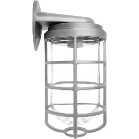 Vaporproof 200 Series VBR Bracket Mount Fixture with Clear Glass Globe and Cast Guard