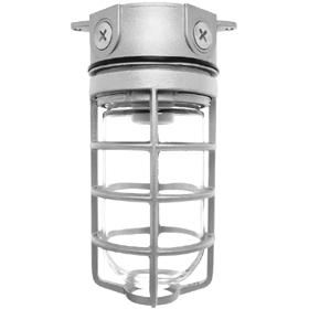 Vaporproof 32W Fluorescent Ceiling Fixture with Globe, Guard, Lamp, Quad Tap