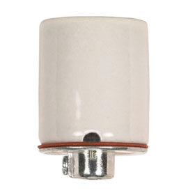 Medium Keyless Porcelain Socket w/2 Wireways, Metal 1/8 Ip Cap