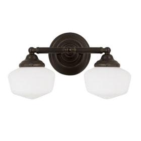 Academy  Heirloom Bronze 17.25 in. 2-Light 13W Fluorescent GU24 Base Satin White Glass Bath Fixture