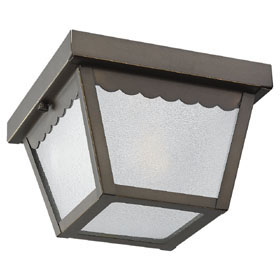One Light Antique Bronze Outdoor Close to Ceiling Light