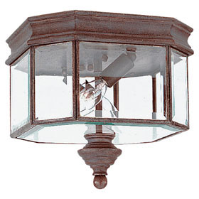 Hill Gate Textured Rust Patina Two Light Outdoor Ceiling Fixture