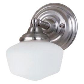 Academy Brushed Nickel 6.75 in. One Light 60W Medium Base Satin White Glass Bath Fixture