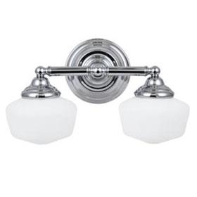 Academy Chrome 17.25 in. 2-Light 13W Fluorescent GU24 Base Satin White Glass Bath Fixture