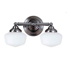 Academy Brushed Nickel 17.25 in. 2-Light 13W Fluorescent GU24 Base Satin White Glass Bath Fixture