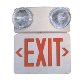 LED Red Letters White Housing Exit Two Head Combo Unit
