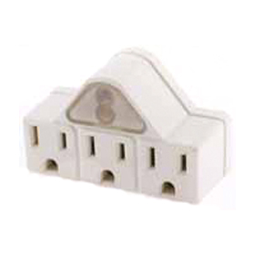 Three Outlet Tap with Photo Control Night Light