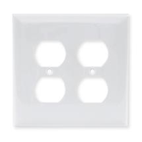 White 2-Gang Duplex Receptacle Plate