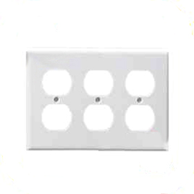 White 3-Gang Duplex Receptacle Plate