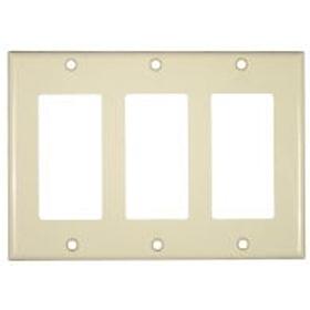 Ivory Three Gang Rocker Switch Decor Wall Plate