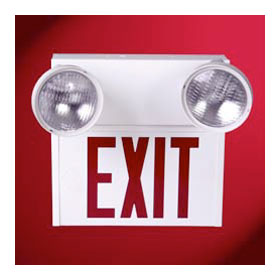 Self Powered Incandescent Stencil Face/Red Letters Steel Exit Sign with Emergency Heads