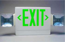 LED Green Letters Exit Sign Side Heads Emergency Light Combo Unit