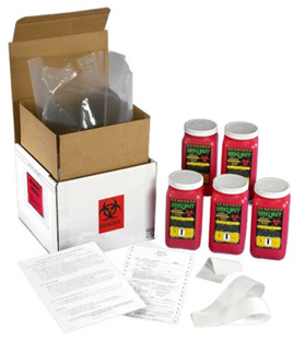 SHARPS+PAK 5-QTY ONE QUART SHARPS DISPOSAL SYSTEM (5- 1Q-V1-VES)