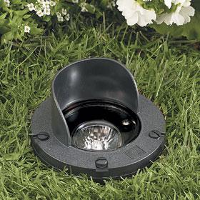 White 20W MR16 Flood Low Voltage In-Ground Well Light, Glare Shield
